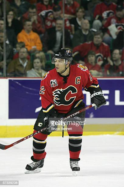 Jarome Iginla of the Calgary Flames skates during the game against the Los Angeles Kings on March 29 2006 at the Pengrowth Saddledome in Calgary...