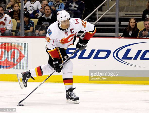 Jarome Iginla of the Calgary Flames takes a shot on goal against the Pittsburgh Penguins at Consol Energy Center on November 27, 2010 in Pittsburgh,...