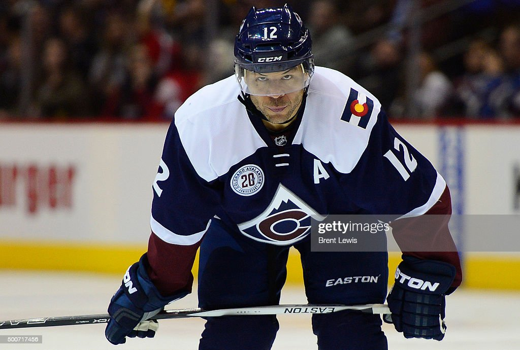 Jarome Iginla (12) of the Colorado Avalanche prepares for a face off during the third period at the Pepsi Center on December 9, 2015 in Denver, Colorado. The Pittsburgh Penguins defeated the Colorado Avalanche 4-2.