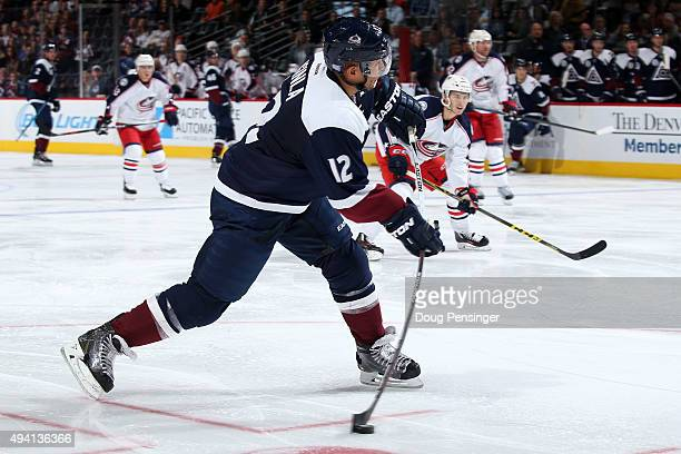 Jarome Iginla of the Colorado Avalanche scores on a wrist shot against goalie Sergei Bobrovsky of the Columbus Blue Jackets to tie the score 22 in...