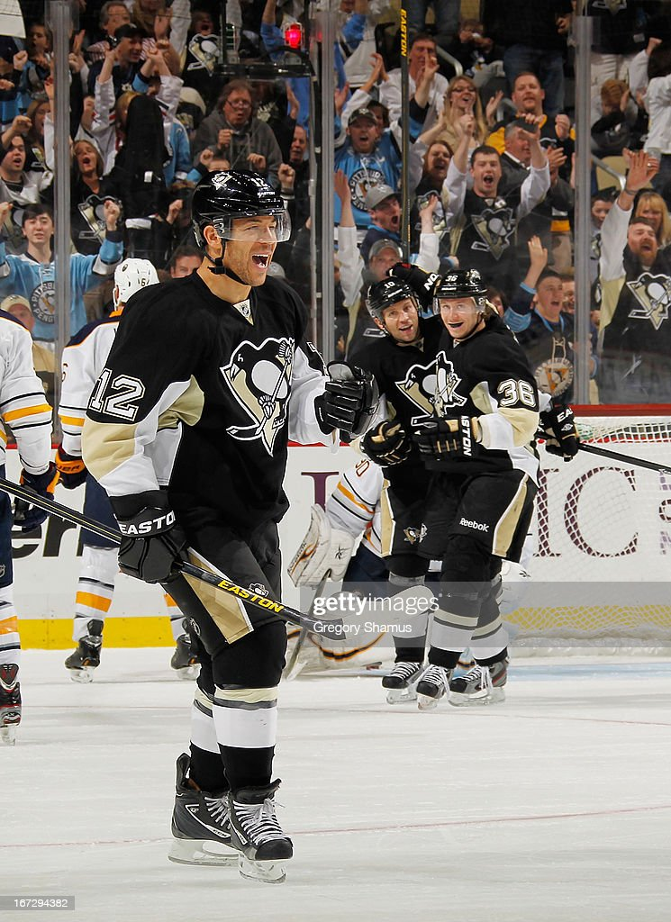 Jarome Iginla #12 of the Pittsburgh Penguins celebrates his goal during the third period against the Buffalo Sabres on April 23, 2013 at Consol Energy Center in Pittsburgh, Pennsylvania. Buffalo won the game 4-2.