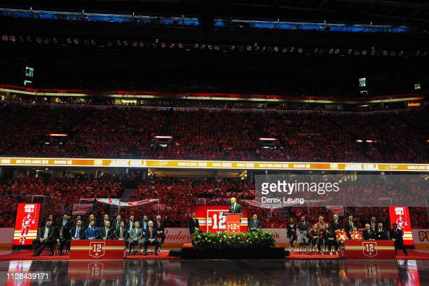 Jarome Iginla speaks to the crowd during the night his number twelve jersey will be retired prior to an NHL game against the Minnesota Wild at...