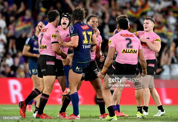 Jarome Luai, Nathan Cleary, Stephen Crichton and Matt Burton of the Panthers celebrate victory after the NRL Grand Final Qualifier match between the...