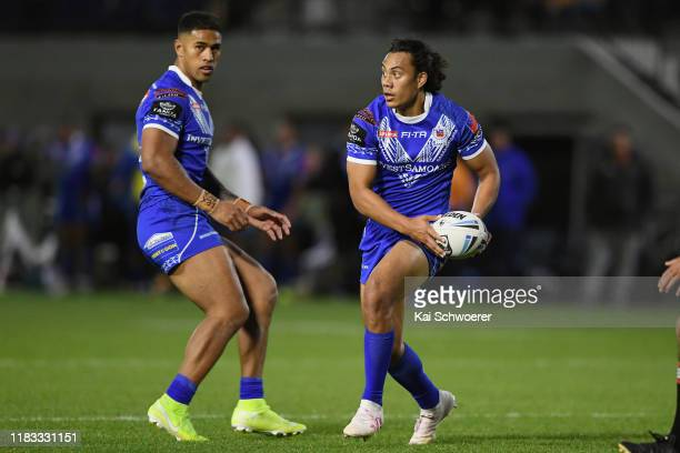 Jarome Luai of Samoa looks to pass the ball during the Rugby League match between the Canterbury Bulls and Toa Samoa on October 25, 2019 in...