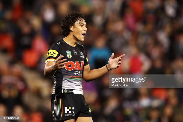 Jarome Luai of the Panthers celebrates victory during the round 17 NRL match between the Penrith Panthers and the New Zealand Warriors at Panthers...
