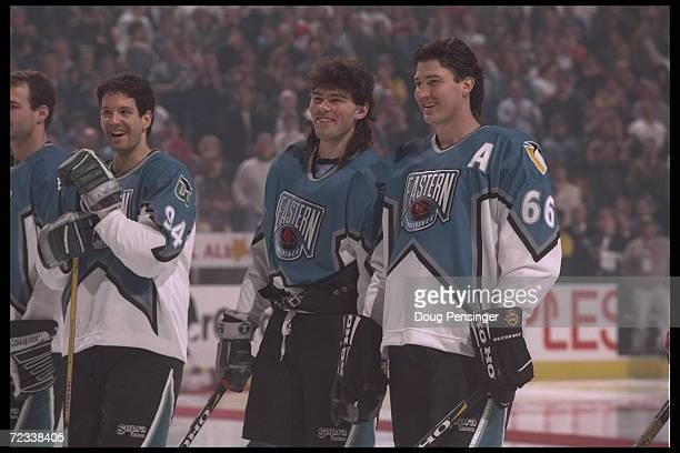 Jaromir Jagr and Mario Lemieux both of the Eastern Conference and the Pittsburgh Penguins stand on the ice before the 1996 46th NHL AllStar Game...