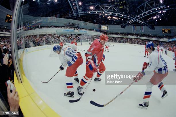 Jaromir Jagr and team captain Vladimír Ruzicka tackle Dmitry Mironov of Russia during the Gold Medal game in the Men's Ice Hockey tournament on 22...