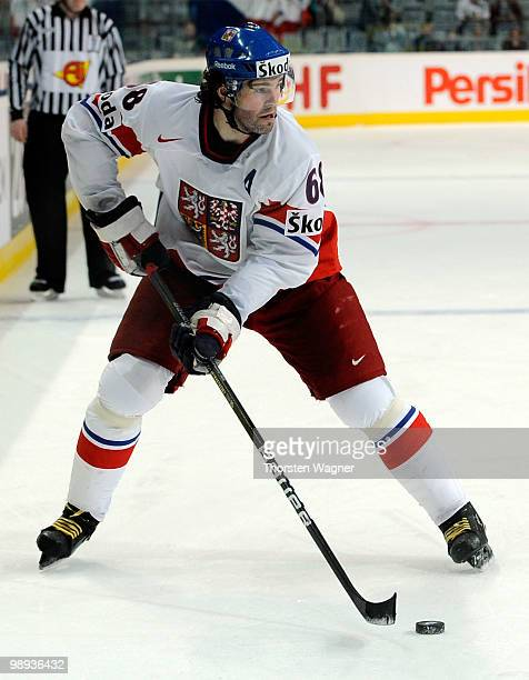 Jaromir Jagr of Czech Republic plays the puck during the IIHF World Championship group C match between Czech Republic and France at SAP Arena on May...