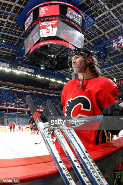 Jaromir Jagr of the Calgary Flames at warm up in a game against the Philadelphia Flyers at the Scotiabank Saddledome on December 04 2017 in Calgary...