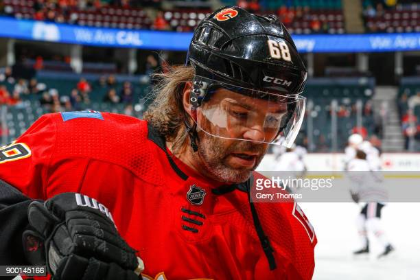 Jaromir Jagr of the Calgary Flames at warm up in an NHL game on December 31 2017 at the Scotiabank Saddledome in Calgary Alberta Canada