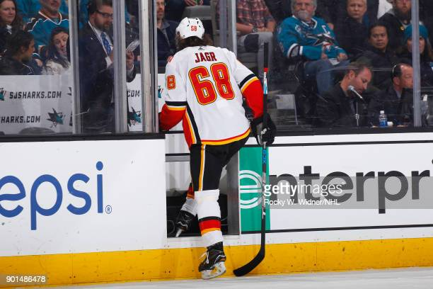 Jaromir Jagr of the Calgary Flames exits the ice during the game against the San Jose Sharks at SAP Center on December 28 2017 in San Jose California