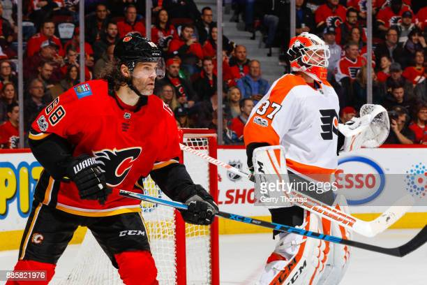 Jaromir Jagr of the Calgary Flames looks for a pass in a game against the Philadelphia Flyers at the Scotiabank Saddledome on December 04 2017 in...