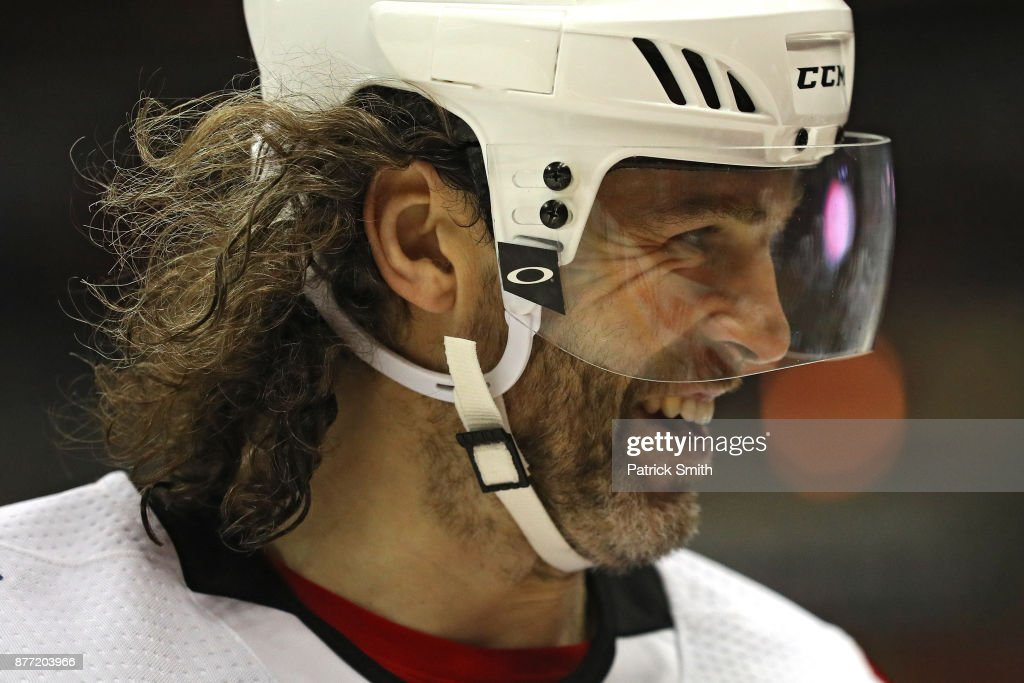 Jaromir Jagr #68 of the Calgary Flames looks on against the Washington Capitals during the third period at Capital One Arena on November 20, 2017 in Washington, DC.