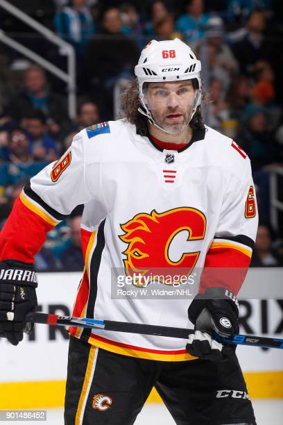 Jaromir Jagr of the Calgary Flames looks on during the game against the San Jose Sharks at SAP Center on December 28 2017 in San Jose California