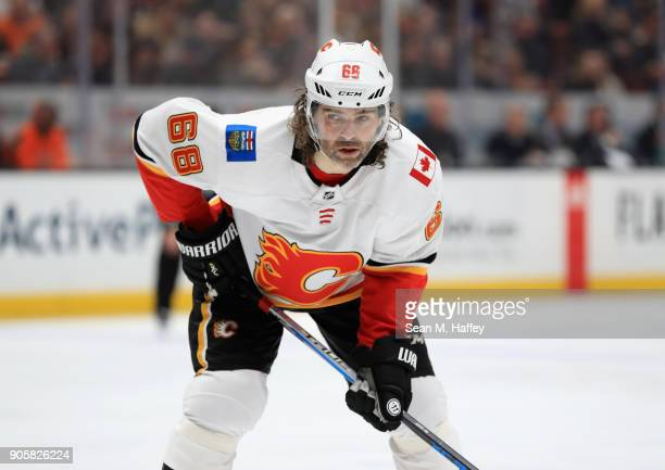 Jaromir Jagr of the Calgary Flames looks on during the second period of a game against the Anaheim Ducks at Honda Center on December 29 2017 in...
