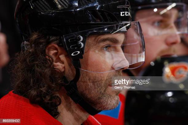 Jaromir Jagr of the Calgary Flames looks on from the bench against the Edmonton Oilers at Scotiabank Saddledome on December 2 2017 in Calgary Alberta...