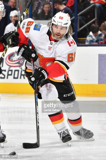 Jaromir Jagr of the Calgary Flames skates against the Columbus Blue Jackets on November 22 2017 at Nationwide Arena in Columbus Ohio