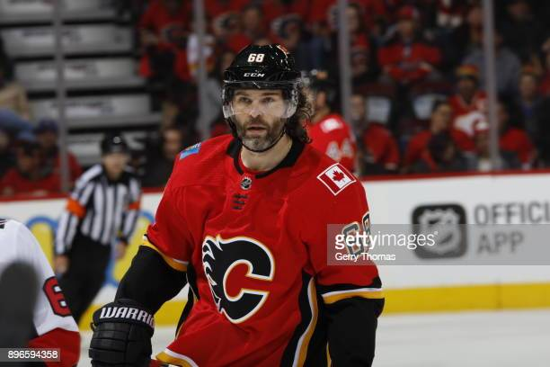 Jaromir Jagr of the Calgary Flames skates against the Ottawa Senators during an NHL game on October 13 2017 at the Scotiabank Saddledome in Calgary...