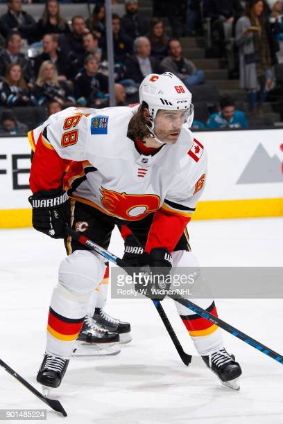 Jaromir Jagr of the Calgary Flames skates against the San Jose Sharks at SAP Center on December 28 2017 in San Jose California