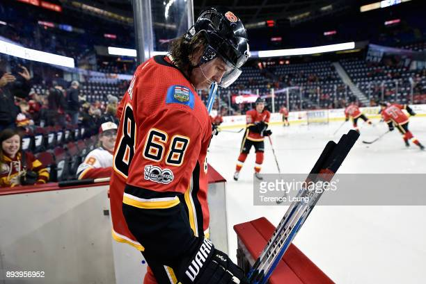 Jaromir Jagr of the Calgary Flames skates before an NHL game against the Nashville Preadtors on December 16 2017 at the Scotiabank Saddledome in...