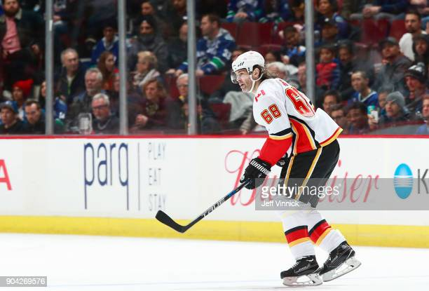 Jaromir Jagr of the Calgary Flames skates up ice during their NHL game against the Vancouver Canucks at Rogers Arena December 17 2017 in Vancouver...
