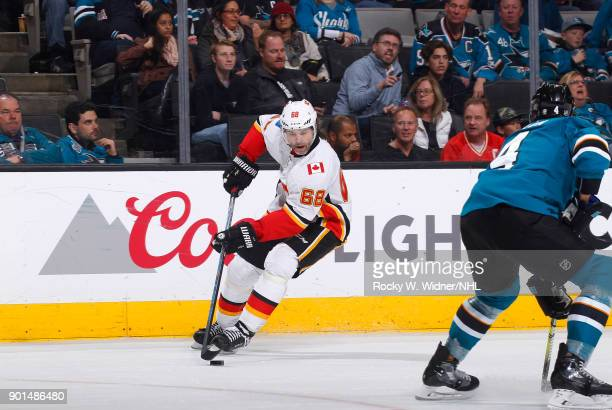 Jaromir Jagr of the Calgary Flames skates with the puck against the San Jose Sharks at SAP Center on December 28 2017 in San Jose California