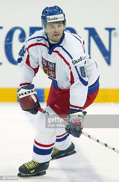 Jaromir Jagr of the Czech Republic warms up before his teams' Group E qualifier match against Switzerland at the International Ice Hockey Federation...
