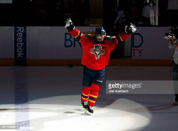Jaromir Jagr of the Florida Panthers acknowledges the fans after bing named the first start of the game for his play against the Winnipeg Jets at the...