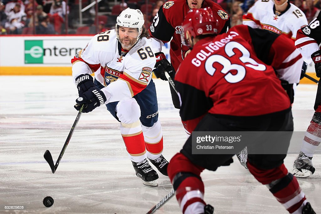 Jaromir Jagr #68 of the Florida Panthers attempts to play the puck during the third period of the NHL game against the Arizona Coyotes at Gila River Arena on January 23, 2017 in Glendale, Arizona. The Coyotes defeated the Panthers 3-2 in overtime.