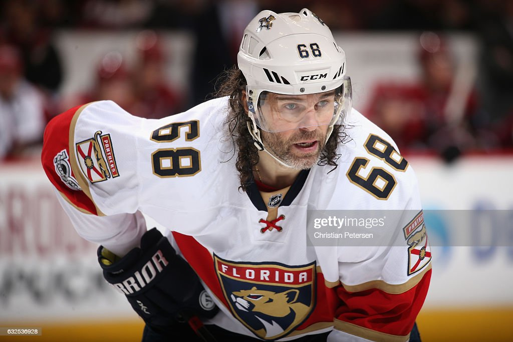 Jaromir Jagr #68 of the Florida Panthers awaits a face off against the Arizona Coyotes during the third period of the NHL game at Gila River Arena on January 23, 2017 in Glendale, Arizona. The Coyotes defeated the Panthers 3-2 in overtime.