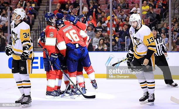 Jaromir Jagr of the Florida Panthers celebrates a goal during a game against the Pittsburgh Penguins at BBT Center on December 8 2016 in Sunrise...