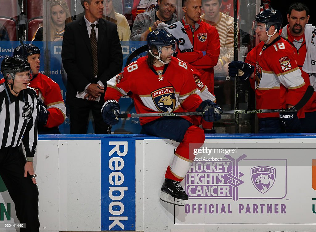 Jaromir Jagr #68 of the Florida Panthers comes onto the ice during a line change against the Boston Bruins at the BB&T Center on December 22, 2016 in Sunrise, Florida. The Bruins defeated the Panthers 3-1.