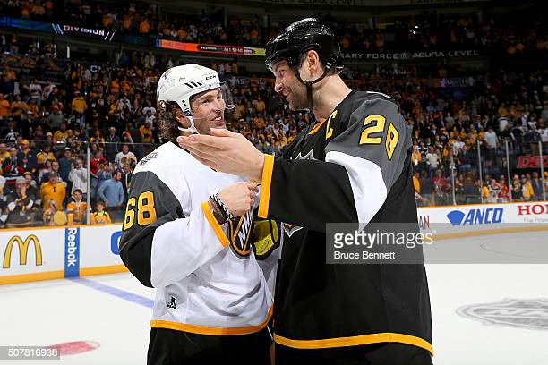 Jaromir Jagr of the Florida Panthers greets John Scott of the Arizona Coyotes after the 2016 Honda NHL AllStar Final Game between the Eastern...