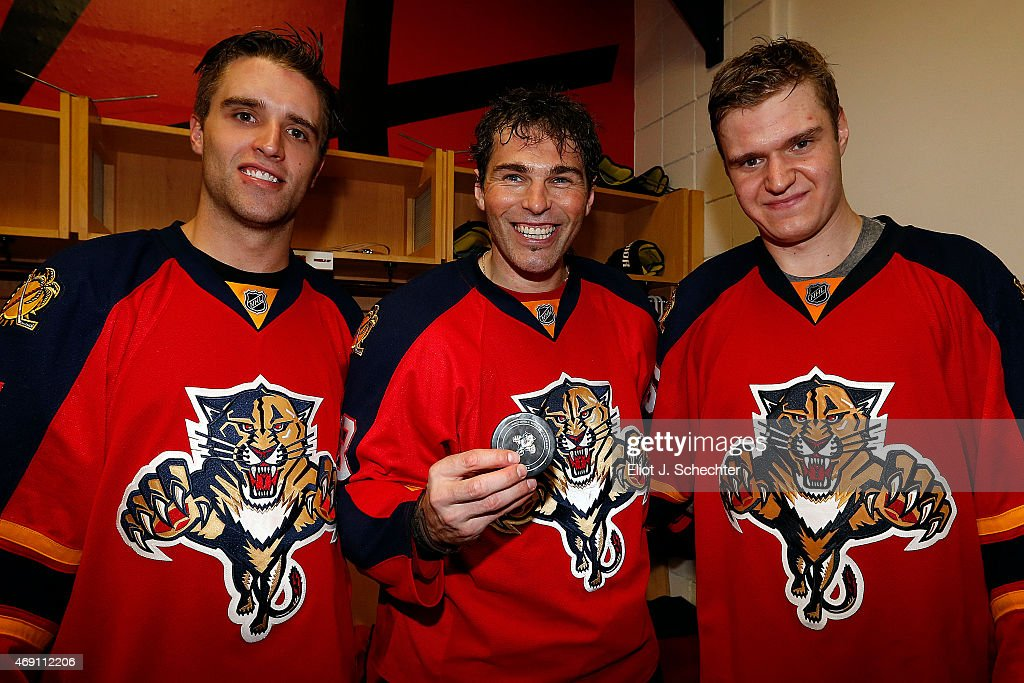 Jaromir Jagr #68 of the Florida Panthers holds the puck for a assist for a goal by Aleksander Barkov along with a assist by Aaron Ekblad #5 against the Boston Bruins at the BB&T Center on April 9, 2015 in Sunrise, Florida.