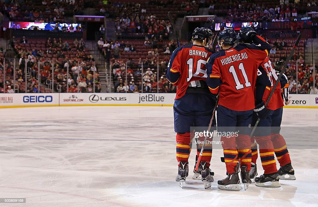 Jaromir Jagr #68 of the Florida Panthers is congratulated after scoring a goal during a game against the Washington Capitals at BB&T Center on December 10, 2015 in Sunrise, Florida.