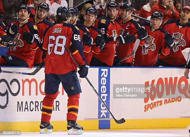 Jaromir Jagr of the Florida Panthers is congratulated after scoring a goal during a game against the Washington Capitals at BB&T Center on December...