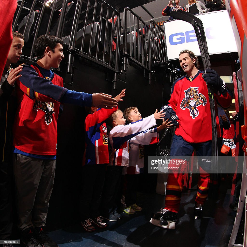 Jaromir Jagr #68 of the Florida Panthers is greeted by hockey fans on his way out to the ice prior to the start of the game against the Washington Capitals at the BB&T Center on December 10, 2015 in Sunrise, Florida.