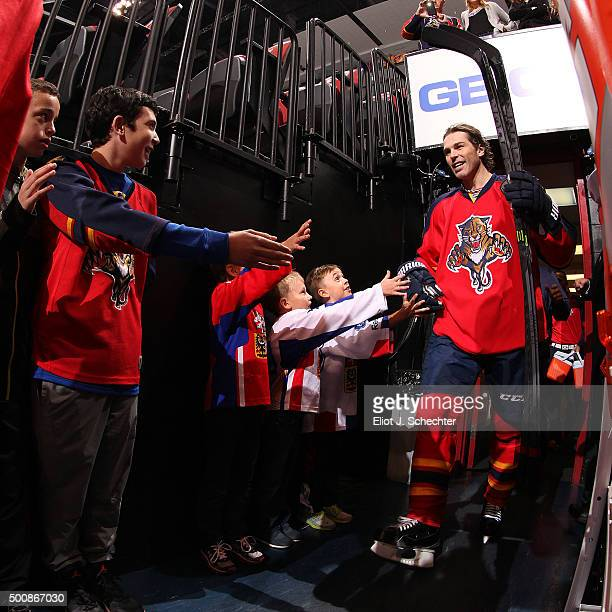 Jaromir Jagr of the Florida Panthers is greeted by hockey fans on his way out to the ice prior to the start of the game against the Washington...