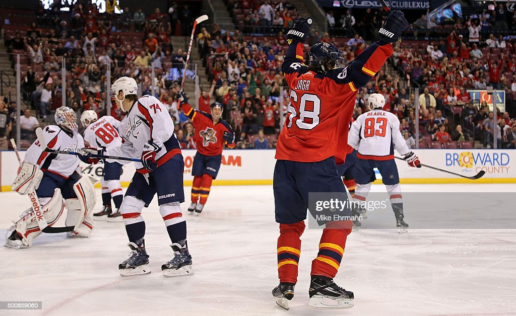 Jaromir Jagr #68 of the Florida Panthers scores a goal during a game against the Washington Capitals at BB&T Center on December 10, 2015 in Sunrise, Florida.