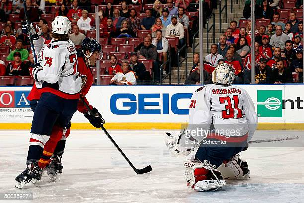 Jaromir Jagr of the Florida Panthers shoots and scores during the first period against Goaltender Philipp Grubauer of the Washington Capitals at the...