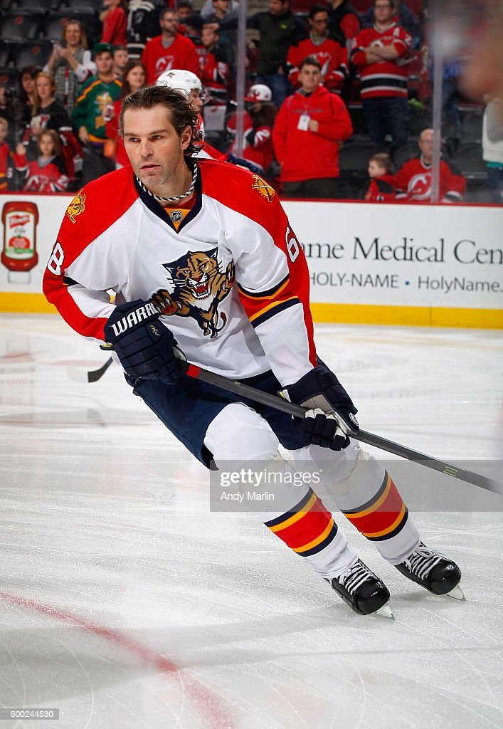 Jaromir Jagr #68 of the Florida Panthers skates during pregame warmups prior to the game against the New Jersey Devils at the Prudential Center on December 6, 2015 in Newark, New Jersey.