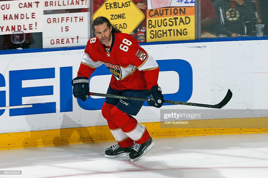 Jaromir Jagr #68 of the Florida Panthers skates prior to the game against the Boston Bruins at the BB&T Center on December 22, 2016 in Sunrise, Florida.