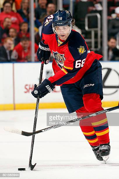 Jaromir Jagr of the Florida Panthers skates with the puck against the Washington Capitals at the BB&T Center on December 10, 2015 in Sunrise, Florida.
