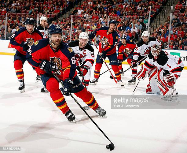 Jaromir Jagr of the Florida Panthers skates with the puck against the New Jersey Devils at the BBT Center on March 31 2016 in Sunrise Florida