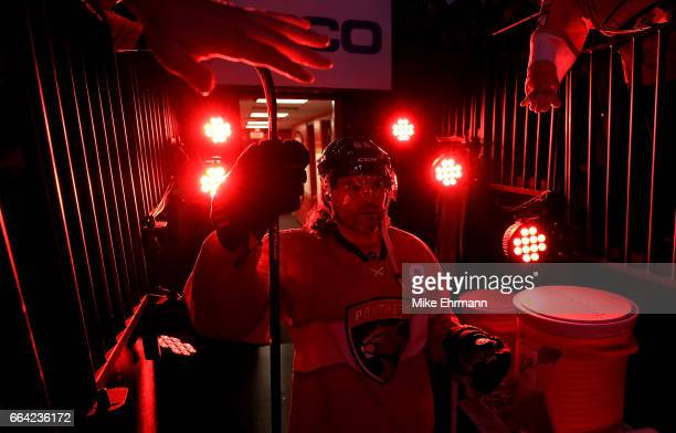 Jaromir Jagr of the Florida Panthers takes the ice during a game against the Montreal Canadiens at BBT Center on April 3 2017 in Sunrise Florida