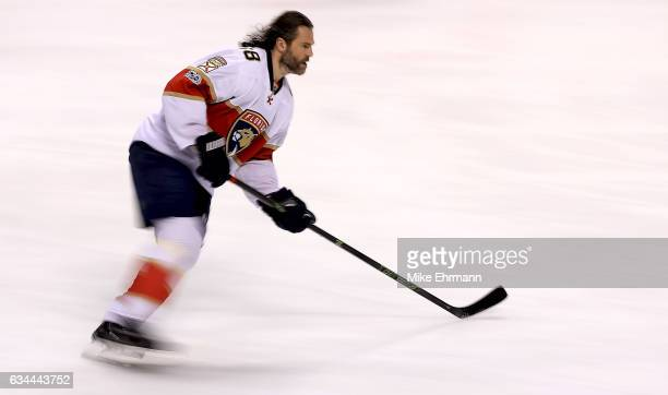 Jaromir Jagr of the Florida Panthers warms up during a game against the Los Angeles Kings at BBT Center on February 9 2017 in Sunrise Florida