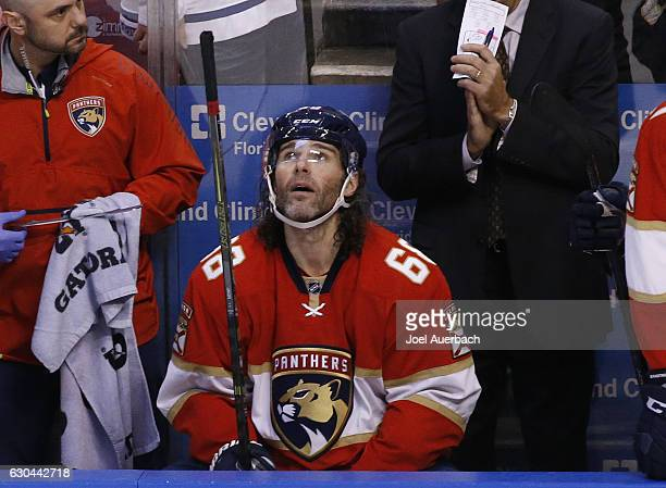 Jaromir Jagr of the Florida Panthers watches a replay of the goal by Aleksander Barkov where he got an assist to get his 1888th point in the NHL to...