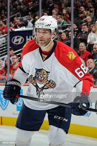 Jaromir Jagr of the Florida Panthers watches for the puck in the second period of the NHL game against the Chicago Blackhawks at the United Center on...