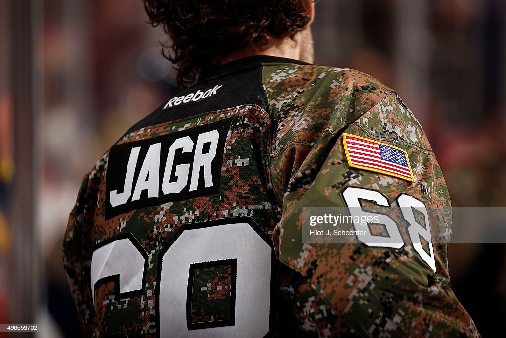 the latest d1c99 9c754 Jaromir Jagr of the Florida Panthers wears a military warmup ...