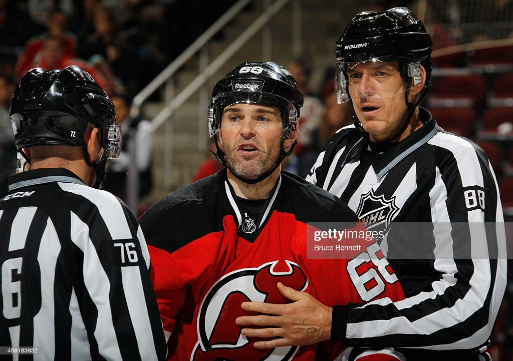 Jaromir Jagr #68 of the New Jersey Devils skates against the Winnipeg Jets at the Prudential Center on October 30, 2014 in Newark, New Jersey. The Devils defeated the Jets 2-1 in the shootout.